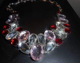 White   red  and pink crystal sterling silver  necklace