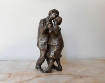 Realistic bronze sculpture, a bronze statuette of dancing lovers