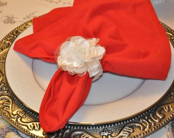Fabric Flower Napkin Rings for Weddings, or more formal dining tablescapes