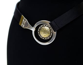 Chicos Adjustable Brass and Leather Belt