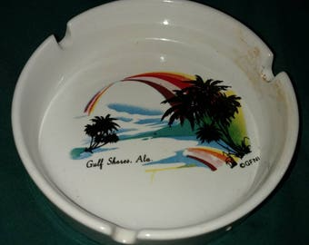 A Gulf Shores Alabama collectible ceramic Ashtray.