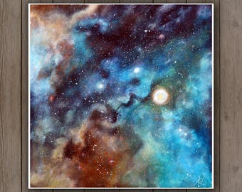 Acrylic Art Print - Space Galaxy Nebula Painting / Starry Stars Constellation Sky Teal Turqoise Blue Gold Copper Brown/ Astology Astronomy