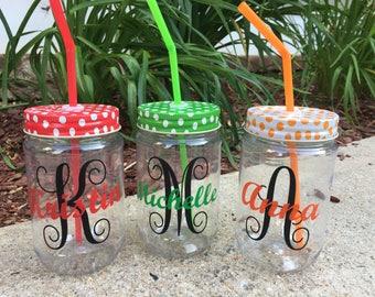 Personalized Polka Dot Mason Jar Cups; Custom Mason Jar Cups