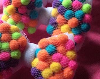 Gumball fuzzy over stuffed pom pom multicolor tulle hair bow