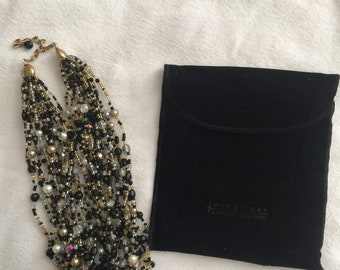 Joan Rivers Black Multi-Strand Beaded Necklace with Pouch