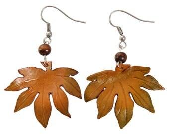 leaf earrings aralia leather flower