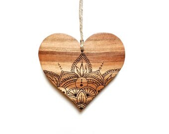 Wooden Heart - Wooden Love Heart, Rustic Heart, Boho Decor, Wooden Hanging Heart, Mandala Art, Personalised Gift, Gift for her, Heart Gift