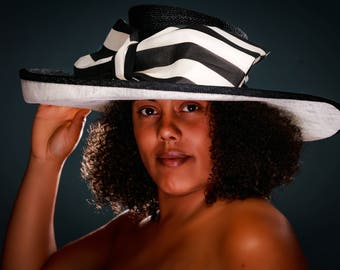 Women's Hat, Races Hat, Mother of the Bride, Wedding Hat, Ascot Hat, Black & White Sinamay Hat with Silk Trim - Eliza