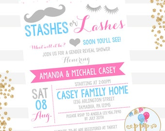 Stashes or Lashes Gender Reveal Invitation | Boy or Girl Gender Reveal Party