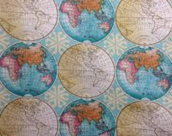 "Vintage Globes of the World fabric by davids textiles, by the half yard, 44"" wide, 100%cotton, novelty fabric, map fabric, globe fabric"