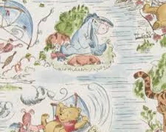 """Winnie the Pooh, A Day in the park, by Springs Creative, 43-44"""" wide, 100% cotton, by the half yard, disney fabric, cartoon fabric"""