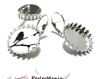 20 pieces: 10 blank SLEEPER claw A SERTIR 12 mm silver plate and 10 cabochons earrings