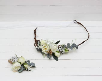 White peony eucalyptus flower Boutonniere Floral accessories Wedding flower crown Bridal headpiece Bridesmaid Outdoor Leaves headband