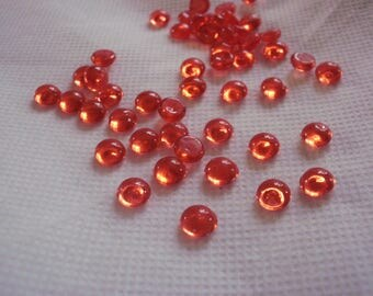 Set of 10 red half pearls 8 mm acrylic, cardmaking, scrapbooking