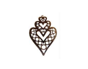 set of 2 large pendants heart, filigree, bronze color 8.5 cm x 5.5 cm x 1 mm