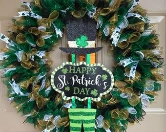 St Patrick's Day Wreath, Irish Wreath, Welcome Wreath, Shamrock Wreath, Porch Wreath, Outdoor Wreath, Front Door Wreath, St Patricks Decor