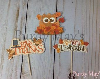 Thanksgiving Cupcake Toppers, Thanksgiving Picks, Thanksgiving Cupcake Picks, Thanksgiving Dessert Picks, Owl Thanksgiving Picks