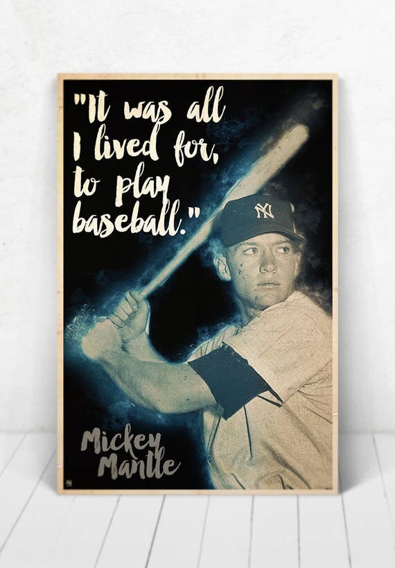 Mickey Mantle Illustration / Mickey Mantle Poster / Mickey Mantle / Yankees / #7