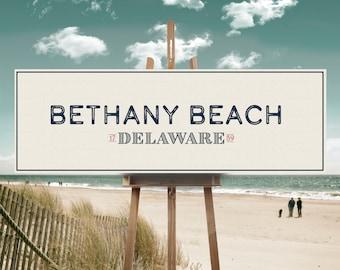 Bethany Beach Print, Bethany Beach, Delaware Canvas, Bethany Beach Canvas, Coastal Canvas, Vintage Print, Coastal Design, Delaware, Wall Art
