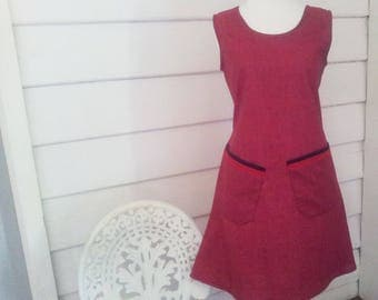 Women's Dress Australian Made Made to Order Tunic Dress Maroon Dress Pocket Dress Summer Dress Mod Dress Tunic Dress Sleeveless Cotton Dress