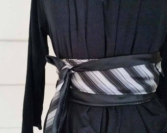Obi Belt Upcycled Ties Belt Australian Made Black White Grey Japanese Obi Silk Belt Waist Cincher Obi Waist Slimmer Reversible Belt Obi Belt