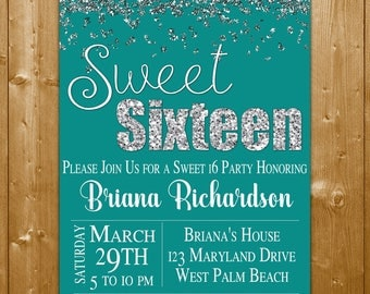 Sweet Sixteen Invitation, Teal and Silver Glitter Sweet 16, 16th Birthday invitation, Teen Birthday Invitation, Party Printables