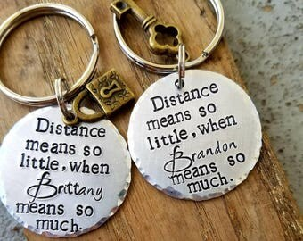 Personalized stamped long distance keychains. Matching couples set. LDR couple keychain. Long distance boyfriend girlfriend gift. Missionary