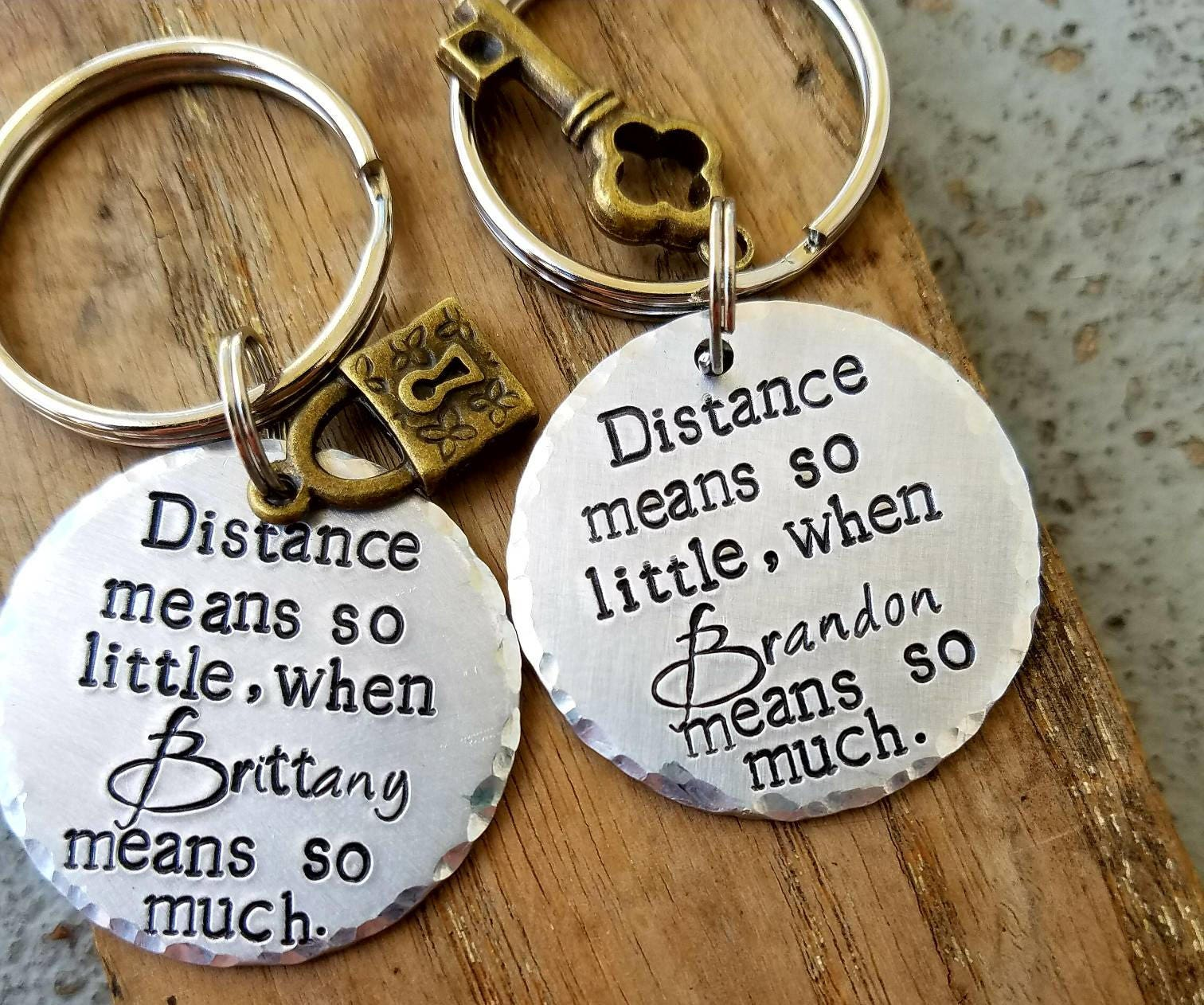 personalized stamped long distance keychains matching couples set