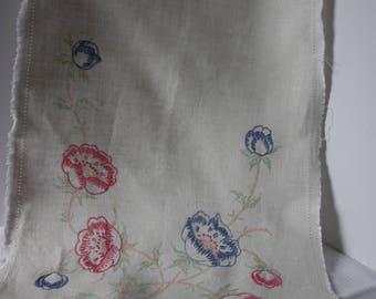 """Vintage Dresser Scarf, vintage linens, 12"""" x 39"""" dresser scarf, unfinished embroidered dresser scarf, embroidery project, table runner"""