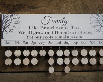 Family Birthday Calendar Family Rustic Style All Wood Calendar Board Celebrations Special Events Family like branches on a tree