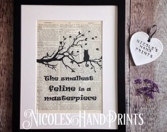 Cat lover gift, Black Cat, Prints, Cat Quotes, Cute Cat, Leonardo Da Vinci, Cat Silhouette, Poster, Mother's Day Gift, Upcycled, Book Page