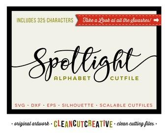 Spotlight SVG Font for Cricut font svg Script Alphabet svg fancy modern calligraphy swashes hearts - DXF EPS Silhoutte - clean cutting files