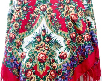 Russian Shawl with fringes - Floral Pattern Classical Design Fashion Scarf - Square Shape - Red Color (D)