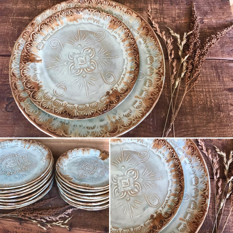 Native Mandala Dinnerware Plate Set Turquoise Brown