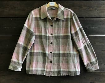 Vintage 90s Pink Plaid Flannel Shirt
