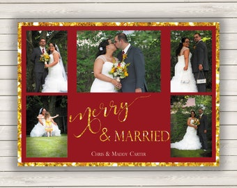 Wedding Photo Christmas Cards, Wedding Christmas Cards, Photo Holiday Card, First Year Married Christmas Cards, Wedding Holiday Cards