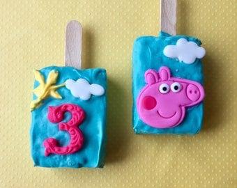 Peppa Pig Rice Krispy Treats(10),Peppa birthday party,