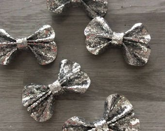 1 flower bow tie silver 3D applique