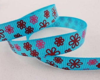 Ribbon GROSGRAIN sold by the yard turquoise pattern Daisy 10mm