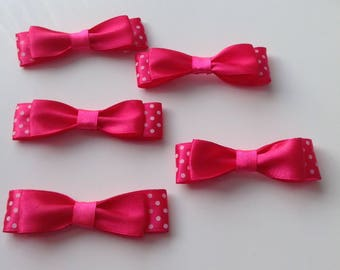 5 bow tie applique flower double fuchsia satin ribbon has polka dots