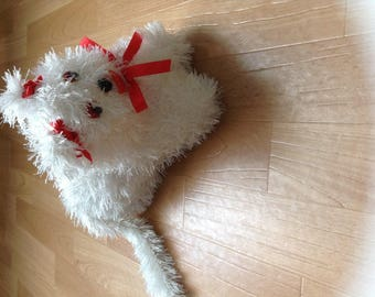 pet cat plush hand made with white wool