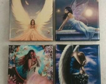 Fairy Girl Coasters/ Angel coasters/ Fairies/Angels/ Coasters/ Housewarming gift/Christmas Gift/ Custom Coasters/ Fairy Decor