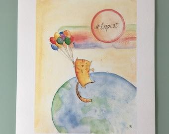 """Print from original in watercolor, """"Mondogatto"""""""