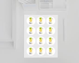 """""""Merciii"""" Mademoiselle pineapple stickers"""