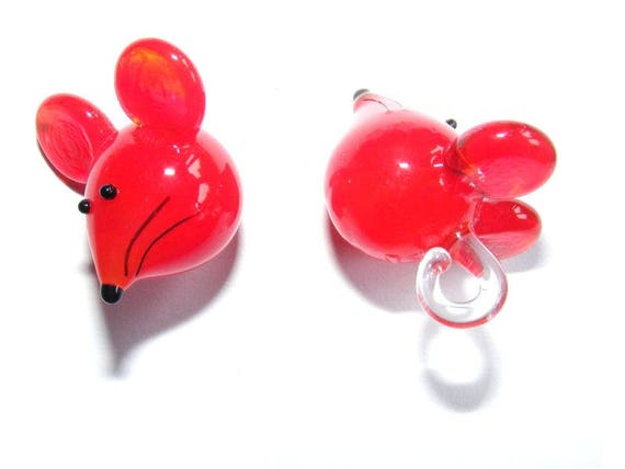 Pendant 30 mm red mouse x 1