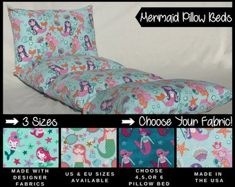 Girls Nap Mat - Preschool Nap Mat - Toddler Nap Mat - Pillow Mattress - Kids Nap Mat - Mermaid Pillow Bed - Girls Mermaid Decor