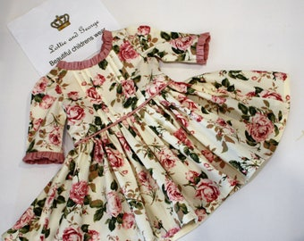 girls rose dress with 3/4 sleeves