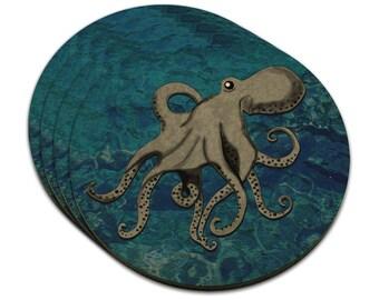 Octopus Mdf Wood Coaster Set Of 4