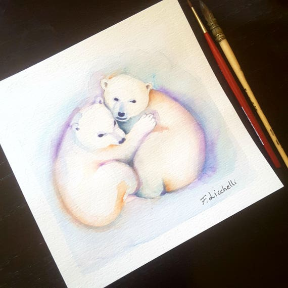 Small picture with polar bears, original watercolor by Francesca Licchelli, gitt idea for new born, children bedroom, nursery decoration.