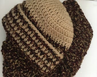 Wine & Taupe Hat and Scarf Set